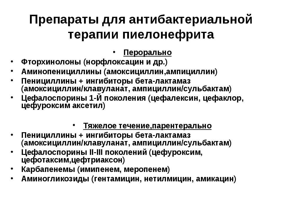 Препараты для антибактериальной терапии пиелонефрита Перорально Фторхинолоны ...