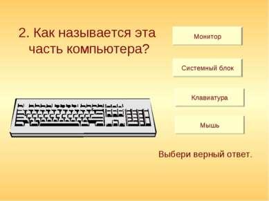 2. Как называется эта часть компьютера? Монитор Системный блок Клавиатура Мыш...