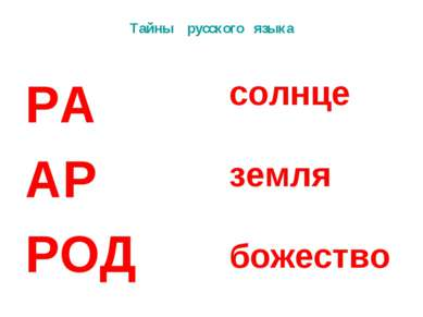 Тайны русского языка РА АР РОД солнце земля божество