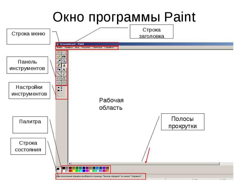 Окно программы Paint Строка заголовка Строка меню Панель инструментов Настрой...