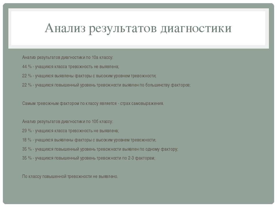 Анализ результатов диагностики Анализ результатов диагностики по 10а классу: ...