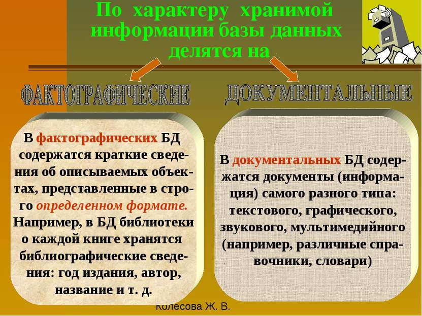 По характеру хранимой информации базы данных делятся на В фактографических БД...
