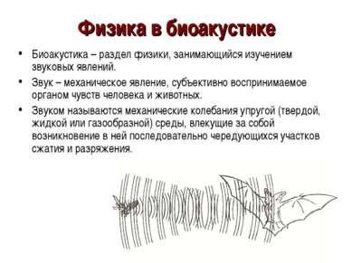Физика в биоакустике Биоакустика – раздел физики, занимающийся изучением звук...