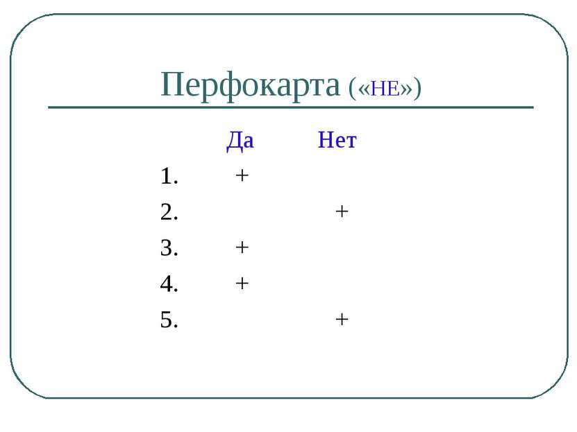 Перфокарта («НЕ») Да Нет 1. + 2. + 3. + 4. + 5. +