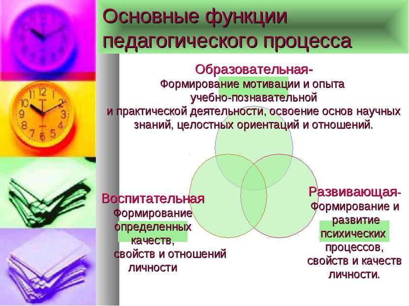 Основные функции педагогического процесса