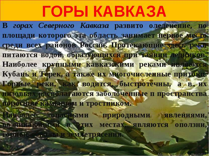 ГОРЫ КАВКАЗА В горах Северного Кавказа развито оледенение, по площади которог...