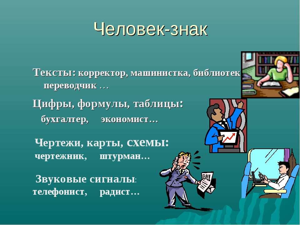 Человек-знак Тексты: корректор, машинистка, библиотекарь, переводчик … Цифры,...