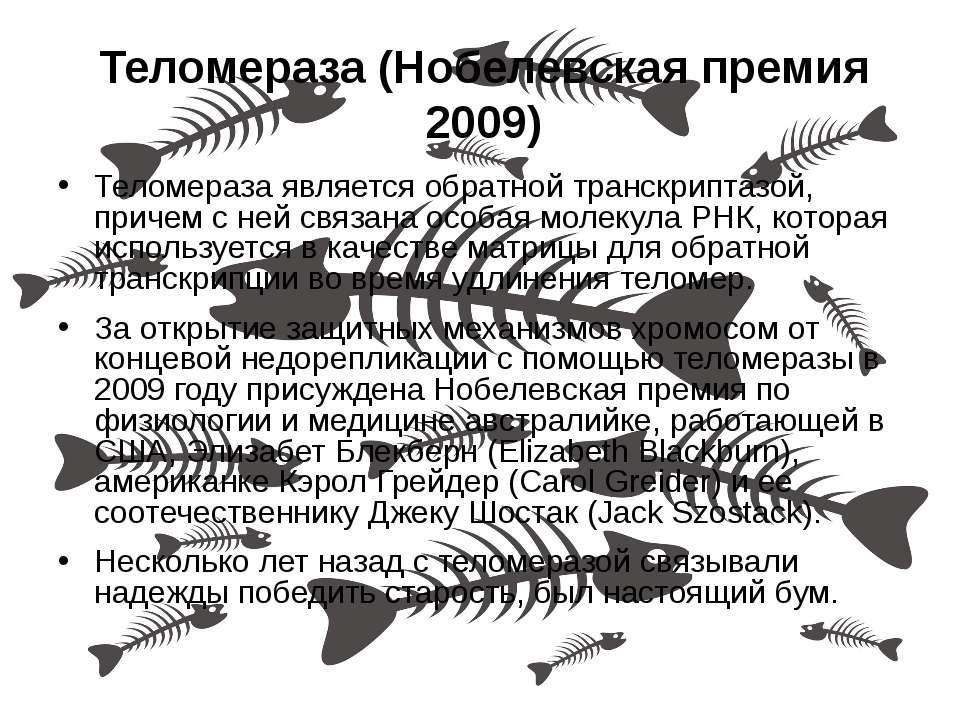 Теломераза (Нобелевская премия 2009) Теломераза является обратной транскрипта...