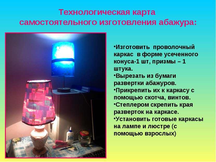 Технологическая карта самостоятельного изготовления абажура: Изготовить прово...