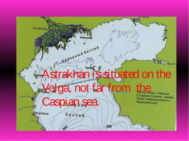 Astrakhan is situated on the Volga, not far from the Caspian sea.