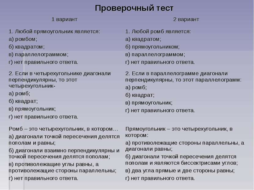 Проверочный тест 1 вариант 2 вариант 1. Любой прямоугольник является: а) ромб...