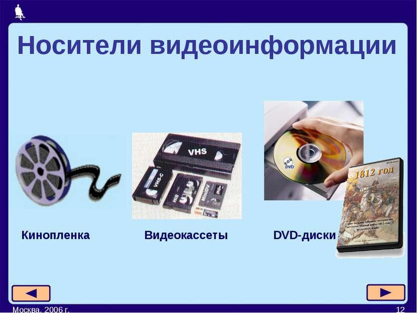Москва, 2006 г. * Видеокассеты DVD-диски Кинопленка Носители видеоинформации ...
