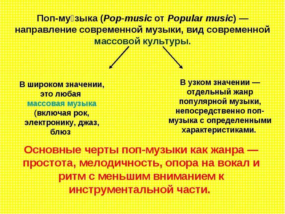 Поп-му зыка (Pop-music от Popular music)— направление современной музыки, ви...