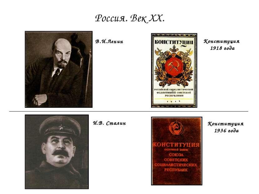 Россия. Век ХХ. В.И.Ленин Конституция 1936 года Конституция 1918 года И.В. Ст...