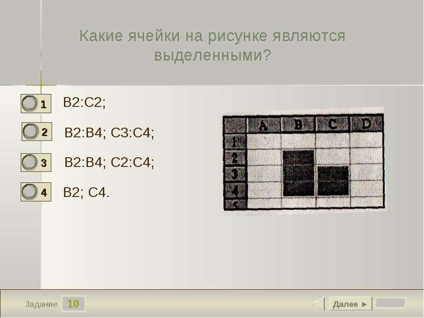 10 Задание Какие ячейки на рисунке являются выделенными? B2:C2; B2:B4; C3:C4;...