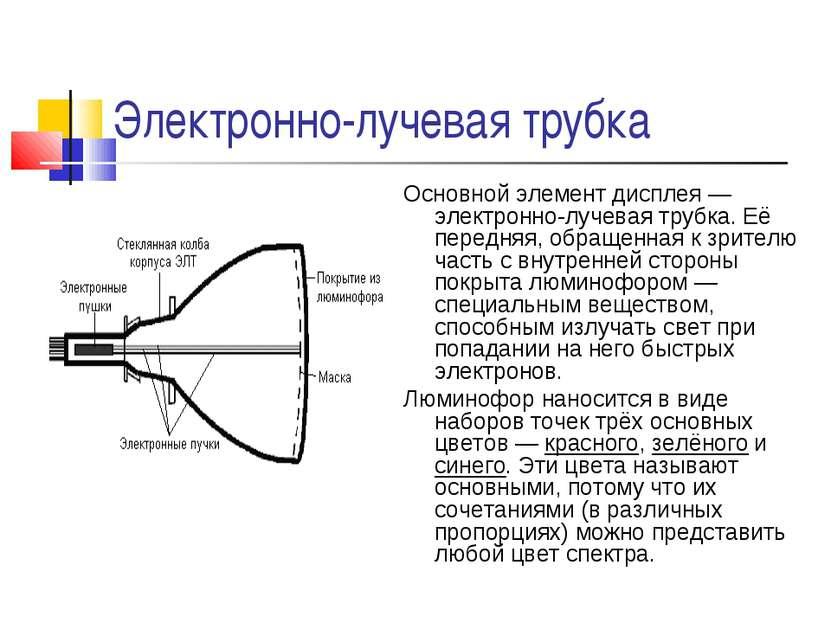 Электронно-лучевая трубка Основной элемент дисплея — электронно-лучевая трубк...