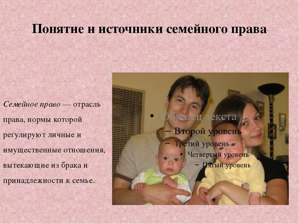 Понятие и источники семейного права Семейное право — отрасль права, нормы кот...