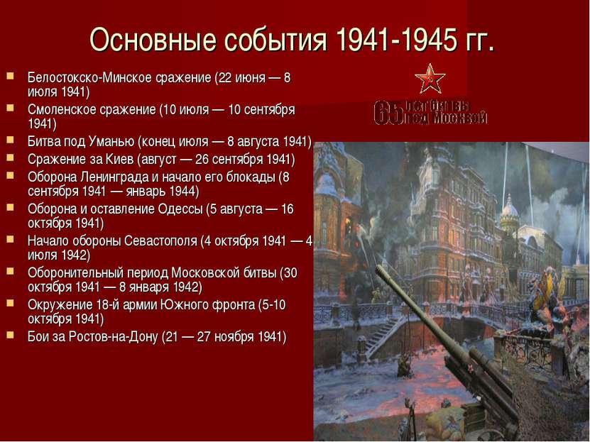 Основные события 1941-1945 гг. Белостокско-Минское сражение (22 июня — 8 июля...