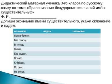 Дидактический материал ученика 3-го класса по русскому языку по теме «Правопи...