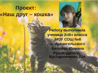 Проект: «Наш друг – кошка» Работу выполнила ученица 2«В» класса МОУ СОШ №6 с....