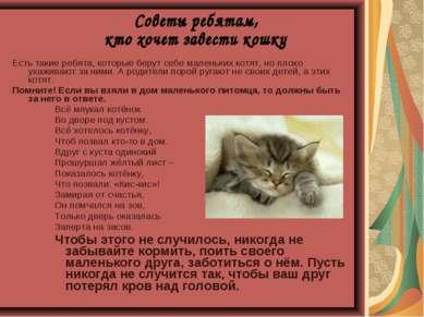 Есть такие ребята, которые берут себе маленьких котят, но плохо ухаживают за ...