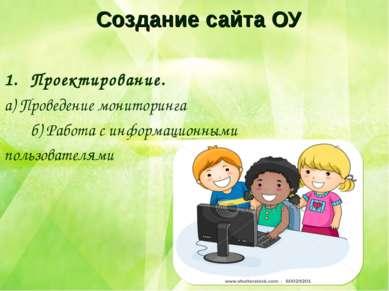 Создание сайта ОУ Проектирование. а) Проведение мониторинга б) Работа с инфор...