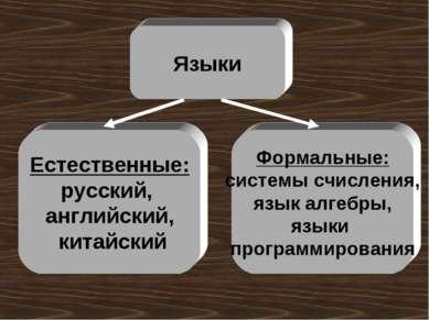 Языки Естественные: русский, английский, китайский Формальные: системы счисле...