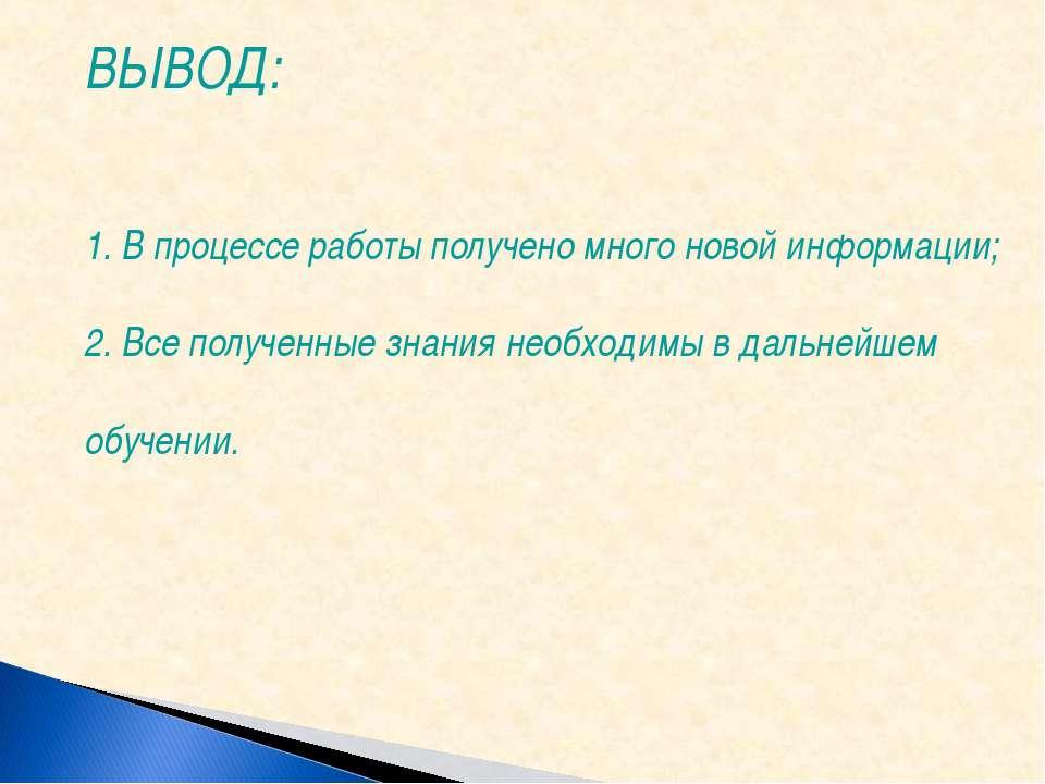 ВЫВОД: 1. В процессе работы получено много новой информации; 2. Все полученны...