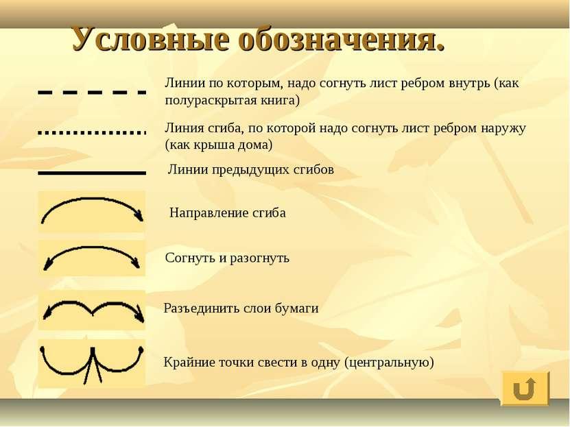 Условные обозначения. Линии по которым, надо согнуть лист ребром внутрь (как ...