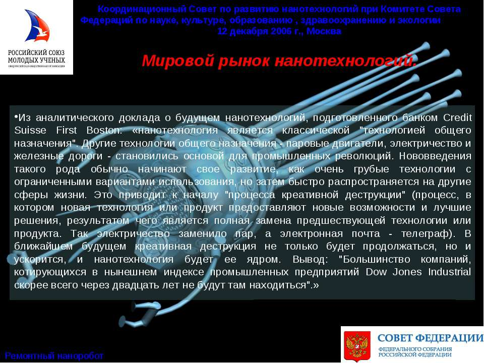 Мировой рынок нанотехнологий. Координационный Совет по развитию нанотехнологи...