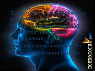 """Существуют три совершенно различных типа памяти: 1) как """"непосредственный отп..."""