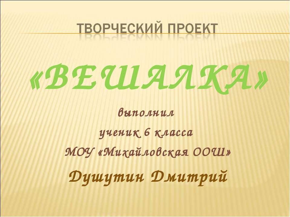 «ВЕШАЛКА» выполнил ученик 6 класса МОУ «Михайловская ООШ» Душутин Дмитрий