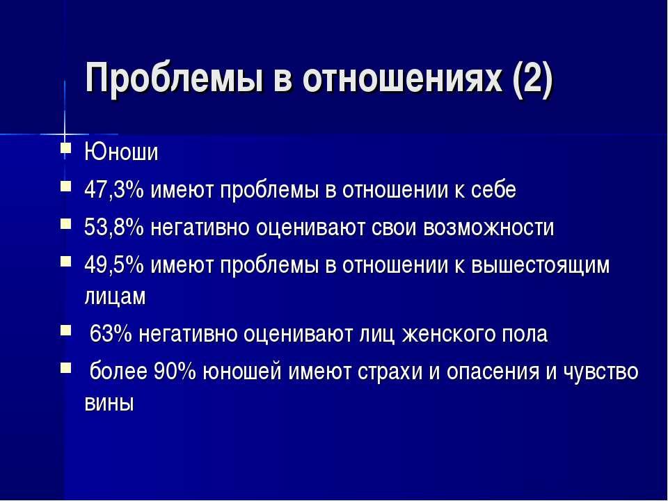 Проблемы в отношениях (2) Юноши 47,3% имеют проблемы в отношении к себе 53,8%...