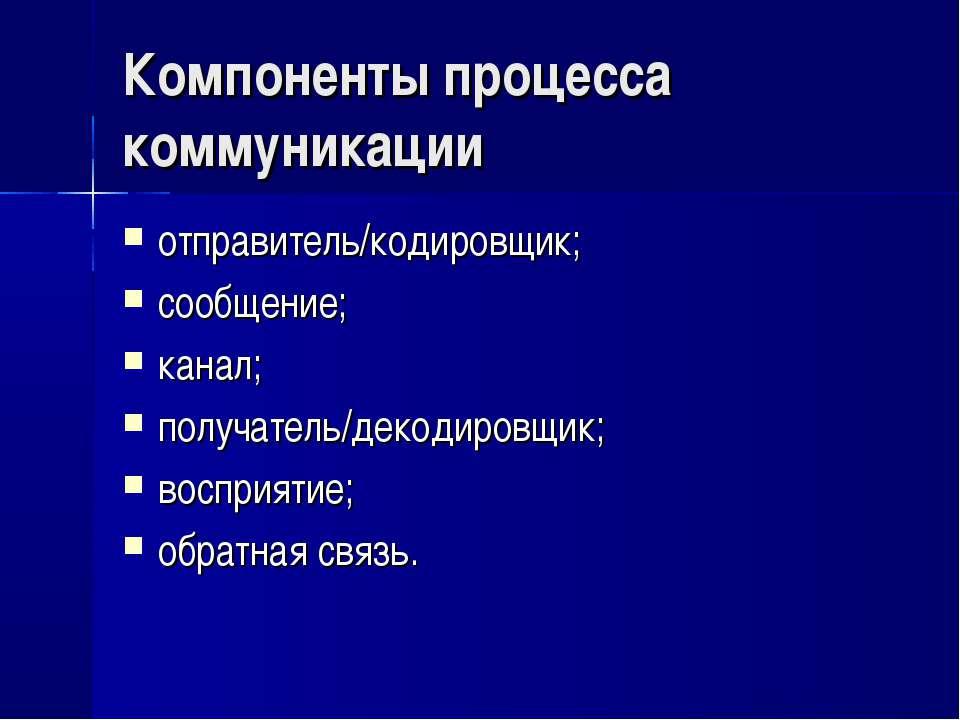 Компоненты процесса коммуникации отправитель/кодировщик; сообщение; канал; по...