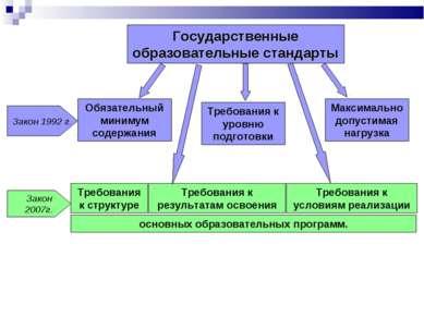Государственные образовательные стандарты Обязательный минимум содержания Тре...