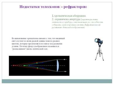 Недостатки телескопов – рефракторов: 1.хроматическая аберрация. 2. ограничена...