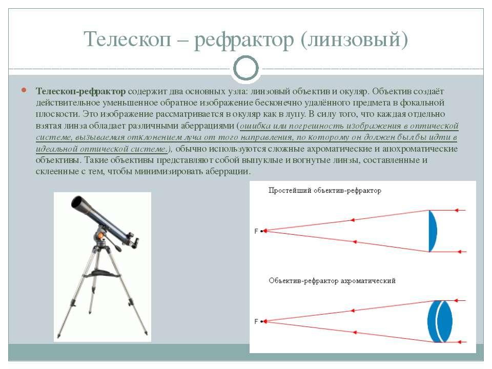 Телескоп – рефрактор (линзовый) Телескоп-рефрактор содержит два основных узла...