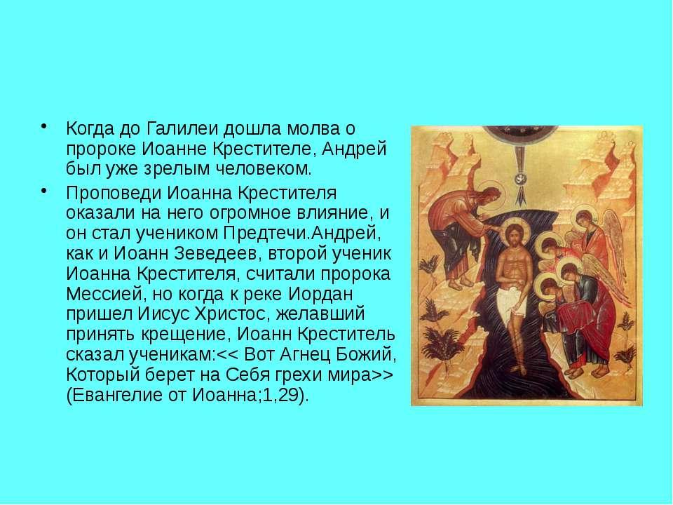 Когда до Галилеи дошла молва о пророке Иоанне Крестителе, Андрей был уже зрел...