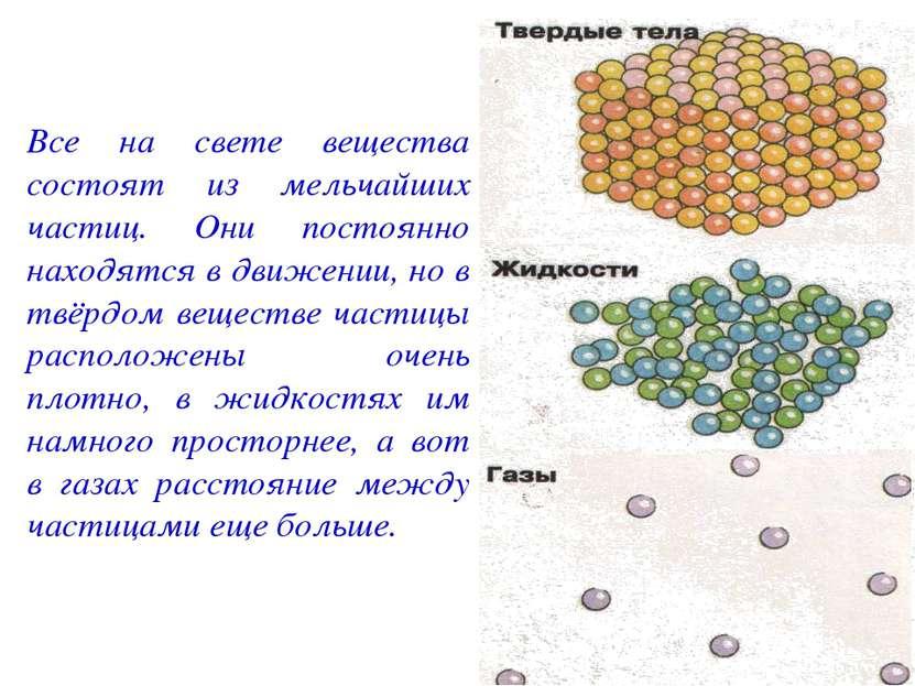 Все на свете вещества состоят из мельчайших частиц. Они постоянно находятся в...