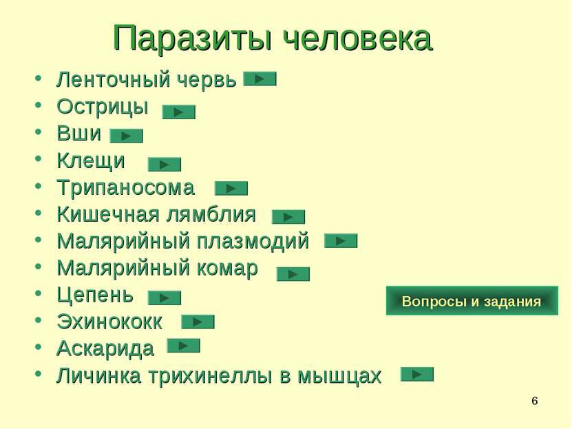 * Паразиты человека Ленточный червь Острицы Вши Клещи Трипаносома Кишечная ля...