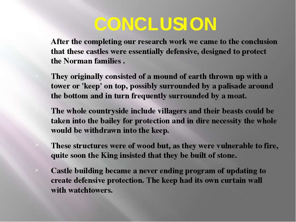 CONCLUSION After the completing our research work we came to the conclusion t...
