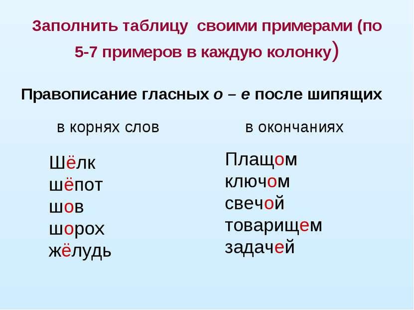 Заполнить таблицу своими примерами (по 5-7 примеров в каждую колонку) Шёлк шё...