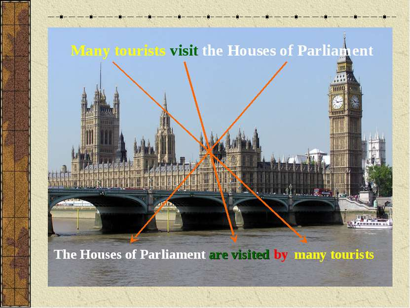 Many tourists visit the Houses of Parliament The Houses of Parliament many to...
