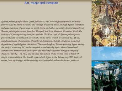 H Roman painting styles show Greek influences, and surviving examples are pri...