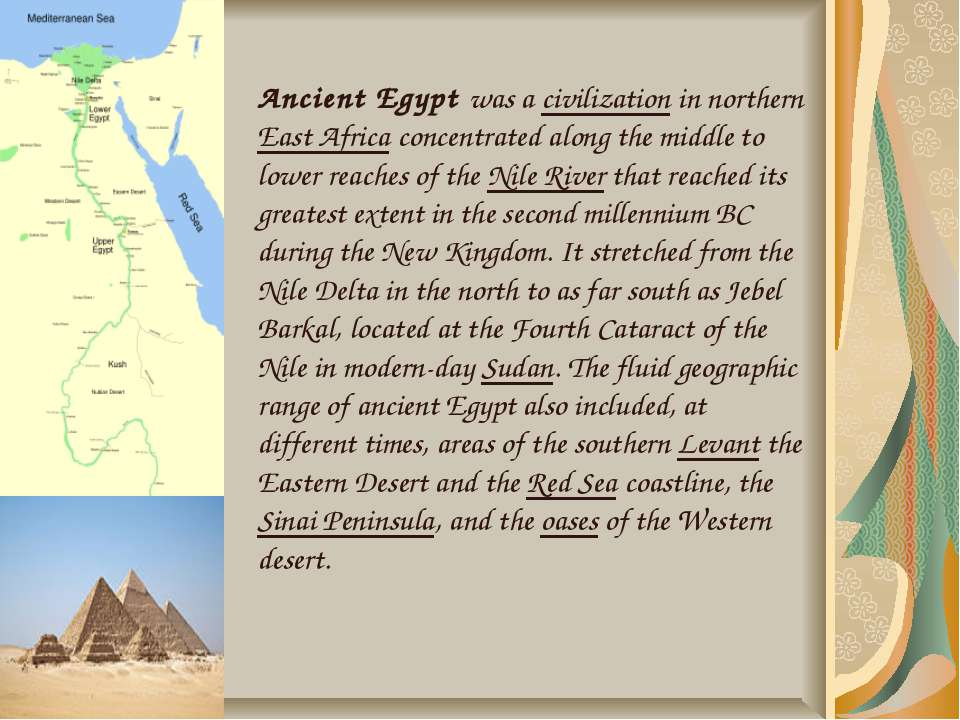 Ancient Egypt was a civilization in northern East Africa concentrated along t...
