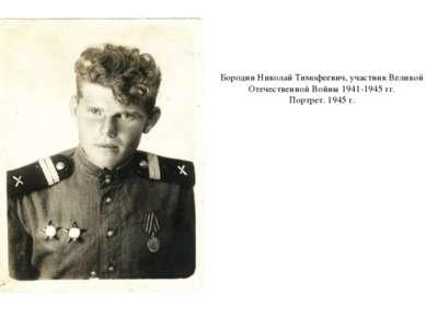 Бородин Николай Тимофеевич, участник Великой Отечественной Войны 1941-1945 гг...