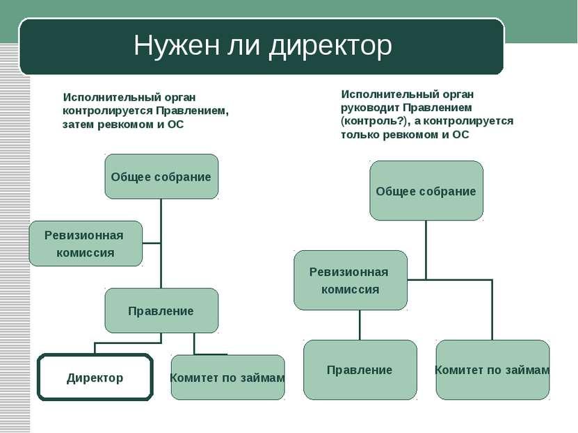 Нужен ли директор Исполнительный орган контролируется Правлением, затем ревко...