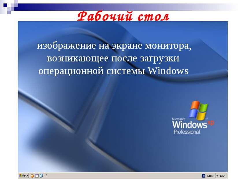 изображение на экране монитора, возникающее после загрузки операционной систе...