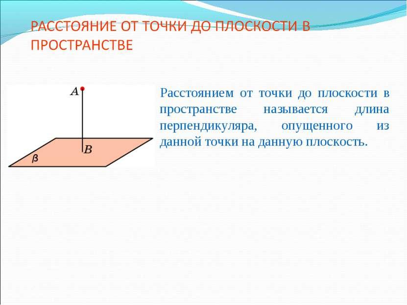 Расстоянием от точки до плоскости в пространстве называется длина перпендикул...