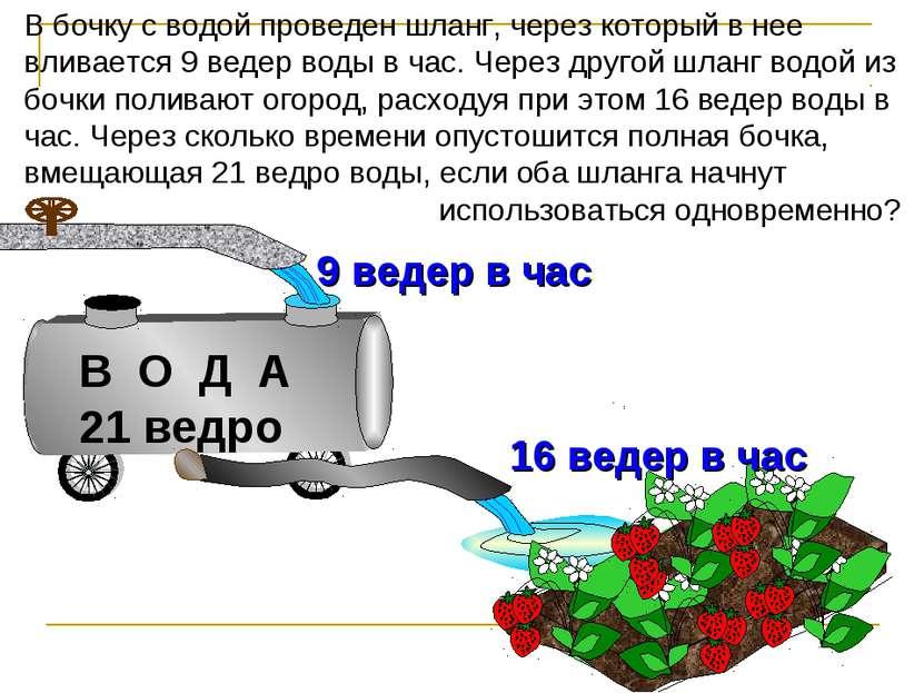 В бочку с водой проведен шланг, через который в нее вливается 9 ведер воды в ...
